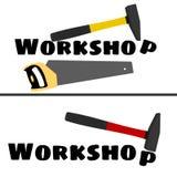 Warsztatowy logo z wizerunkiem młot i saw Obrazy Stock