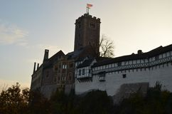 Wartburg Castle, Germany, with Wall, Tower, and Trees stock photos
