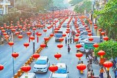Wartechinesisches neujahrsfest, Rangun, Myanmar lizenzfreie stockfotos