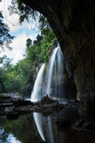 The warter fall. From the cave Stock Photos