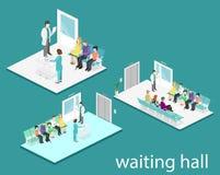 Warteraum im Krankenhaus Besucher sitzen auf den Stühlen im Korridor Patient wartet, um einen Doktor zu empfangen lizenzfreie abbildung