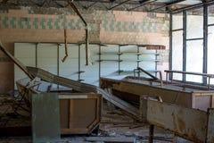 Warteraum in keinem Krankenhaus 126 in Pripyat-Geisterstadt, Atomkraftwerk-Zone Tschornobyls der Entfremdung, Ukraine stockbilder