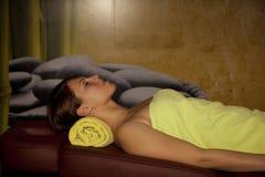 Wartezeit für eine Massage Stockbild