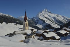 Warth am Arlberg - Austria. In winter on a sunny day, a beautiful view over Warth am Arlberg a typical Austrian village Stock Photography