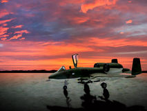 A Warthog ground attack aircraft at sunset. Royalty Free Stock Photos