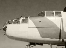 Wartime American bomber. Black and white photo of classic military bomber airplane royalty free stock image