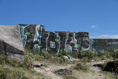Wartime Bunkers, Brittany, France. Wartime Bunkers painted and graffiti Royalty Free Stock Photos