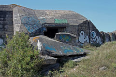 Wartime Bunkers, Brittany, France. Wartime Bunkers painted and graffiti Stock Photography