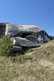 Wartime Bunkers, Brittany, France. Wartime Bunkers painted and graffiti Stock Photo