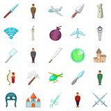 Wartime icons set, cartoon style. Wartime icons set. Cartoon set of 25 wartime vector icons for web isolated on white background Royalty Free Stock Photo