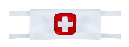Wartime style medic armband to wear around upper arm. White material in colour with embroidered cross mark at center. Hand drawn watercolour graphic drawing on Royalty Free Stock Image