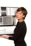 wartość kobiety mili młodzi komputerów Zdjęcia Stock