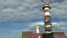 Wartungsarbeiten auf einem Leuchtturmgebäude mit Gestell stock video footage