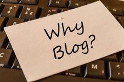 Warum Blog Konzept auf Tastatur Stockfoto