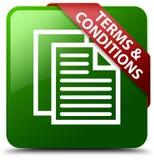 Warunki stron ikony zieleni kwadrata guzik Zdjęcie Royalty Free