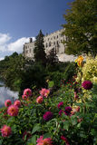 Warwick Castle. Taken from the Mill Gardens stock photography