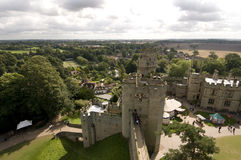 Warwick castle. Aerial view of ramparts of Warwick Castle, England Stock Image
