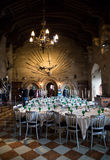Warwick Castle. Dining room in  Warwick Castle Stock Images
