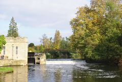 Warwick castle landscape. Weir over River Avon in England Stock Images