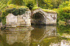 Warwick castle, medieval broken bridge. Stock Photos
