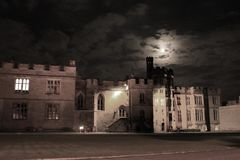 Warwick Castle. At night. Warwickshire, Midlands, England Stock Photos