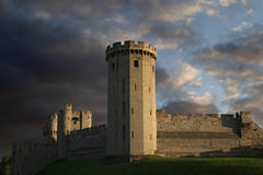Warwick castle at sundown Stock Photography