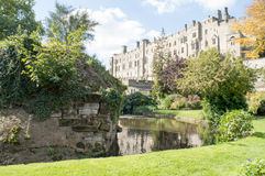Warwick Castle Wall. Taken from the Mill Gardens in Warwick, England stock photography