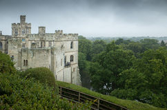 Warwick castle on a wet day Royalty Free Stock Images