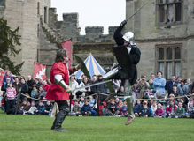 Warwick Castles Warriors - Mediaeval sword play Stock Image