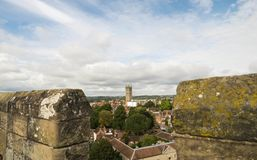 Warwick, United Kingdom - September 19, 2016. Warwick, United Kingdom - September 19, 2016: View of the Medieval castle tower and gatehouse from within the royalty free stock photo