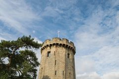 Warwick, United Kingdom - September 19, 2016. Warwick, United Kingdom - September 19, 2016: View of the Medieval castle tower and gatehouse from within the royalty free stock image