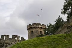Warwick, United Kingdom - September 19, 2016. Warwick, United Kingdom - September 19, 2016: View of the Medieval castle tower and gatehouse from within the royalty free stock photography