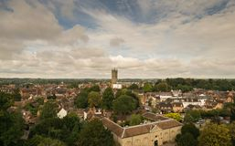 Warwick, United Kingdom - September 19, 2016. Warwick, United Kingdom - September 19, 2016: View of the Medieval castle tower and gatehouse from within the stock photo