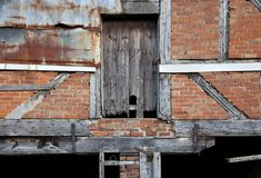 Warwickshire barn detail. Dilapidated Warwickshire barn facade, England Royalty Free Stock Image
