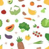 Warzyw i owoc płaskiego bezszwowego deseniowego zdrowego jarskiego karmowego weganinu świeża organicznie wektorowa ilustracja Zdjęcie Stock