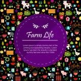 Warzyw i owoc sztandaru ciemna ilustracja Obrazy Royalty Free