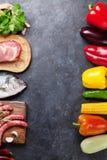 Warzyw, ryba i mięsa kucharstwo, Zdjęcie Royalty Free