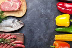 Warzyw, ryba i mięsa kucharstwo, Fotografia Stock