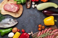 Warzyw, ryba i mięsa kucharstwo, Obraz Stock
