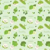 Warzywa bezszwowy t?o w kawaii stylu wektorze ilustracji