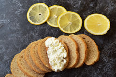 Warzywa dieta Cytryna, chałupa ser, dieta chleb Obraz Royalty Free
