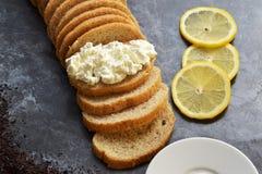 Warzywa dieta Cytryna, chałupa ser, herbata, dieta chleb Obrazy Stock