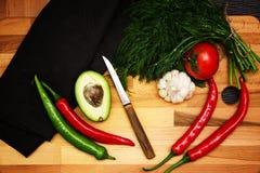 Warzywa dla gotować na drewnianym tle fotografia stock