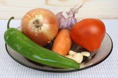 Warzywa dla mięsa na talerzu Zdjęcia Royalty Free