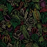Warzywa Doodle wzór Obrazy Stock