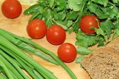 Warzywa i chleb Zdjęcia Stock