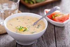 Warzywa i kukurydzana gęsta zupa rybna Zdjęcie Stock