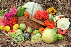 Warzywa i kwiaty z sianem jako tło Zdjęcia Royalty Free