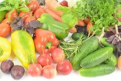 Warzywa i owoc na białym stole Fotografia Stock