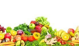 Warzywa i owoc nad białym tłem Zdjęcia Stock